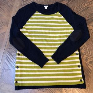 J. Crew Navy and Green Striped Sweater - size S